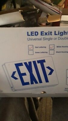 NEW LED Exit Lighting Fixture with Battery Backup Universal Single/Double Sided