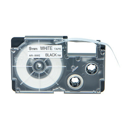 """1PK Compatible Casio XR-9WE Black on White Label Tape for EZ Printer 3/8"""" 9mm"""