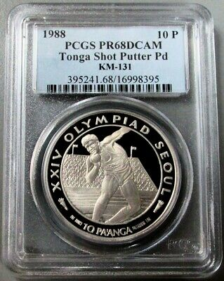 1988 Palladium Tonga 10 Pa'anga Olympic Shot-Put Coin Pcgs Proof 68 Ultra Cameo