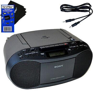 Sony Portable CD Player Boombox with AM/FM Radio & Cassette Player + Aux Cable