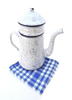 French vintage COFFEE POT marbled white blue graniteware enamel old Country Home