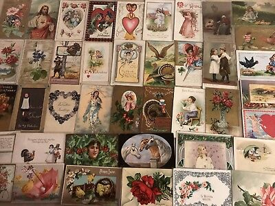 Vintage Mixed Lot of 55 Holidays & Greetings Postcards-Antique-~in Sleeves-a674