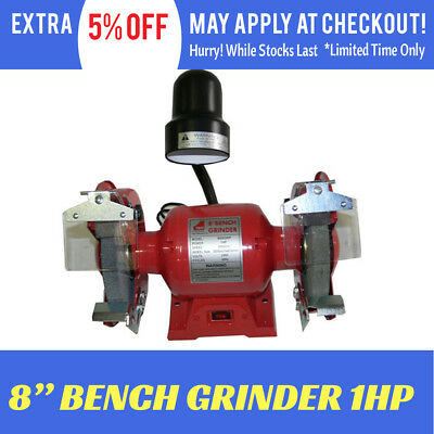"Bench Grinder 8"" 200 mm 1 HP Wheel worklight Knife Sharpener Power Tool Grinding"