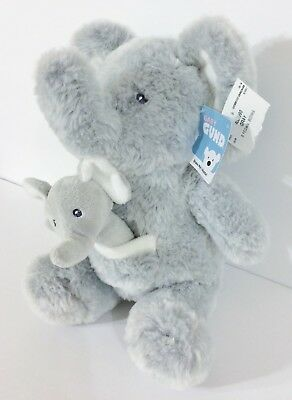 Baby Gund Oh So Soft Gray Elephant with Baby Elephant Rattle Plush