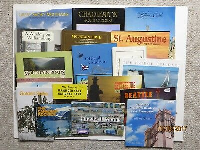 Travel Souvenir Books Softcover Lot of 19 Smoky Mtns Seattle Charleston ECT