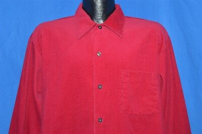 vintage 70s NORTHWAY MAROON CORDUROY BUTTON DOWN CAMP MEN'S SHIRT LARGE L