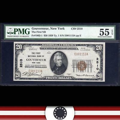 1929 $20 GOUVERNOUR, NY National Currency PMG 55 EPQ  ST LAWRENCE COUNTY 001113A