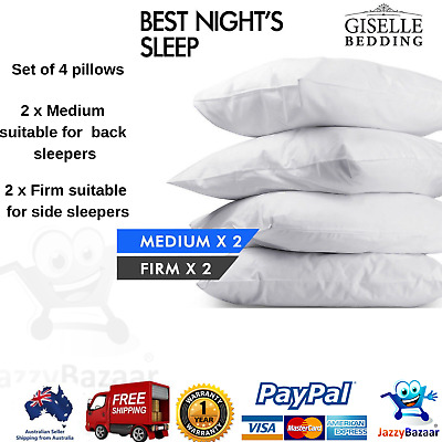 Giselle 2x Firm + 2x Medium Standard Pillow Hotel 4 Pack Bed Cotton 48X73CM