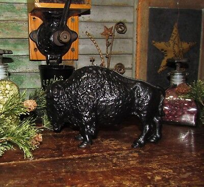 Original Antique Vtg Art Smithy Cast Iron Buffalo Bison Two Piece Penny Bank