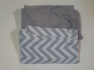 Cloud Island Set of 2 Pack and Play Sheets Gray and Gray Chevron