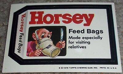 Vintage Wacky Packages 16th Series 16 Horsey Topps 1976 sticker white back