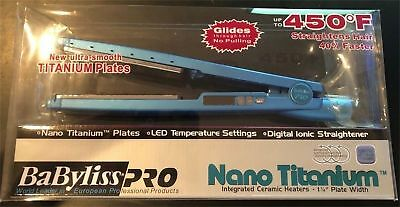 "BaByliss Pro Nano Titanium Plated 1.25"" Hair Flat Iron 1 1/4 BABNT2091T Priority"