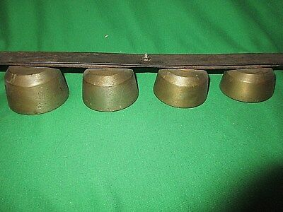 Antique Horse Drawn Sleigh Buggy Brass Shaft Bells Chimes w 3 Clappers each