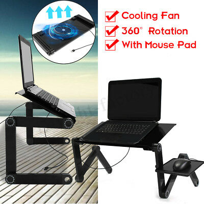 Adjustable Laptop Notebook Stand Desk Table Tray With Cooling Fan and Mouse Pad