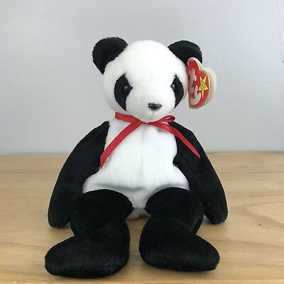 Ty Beanie Babies Fortune the Panda Teddy Bear 1997 Retired Black & White