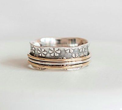 Spinner Ring 925 Sterling Silver Brass Wide Band Meditation Jewelry GS109