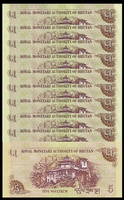 Lot 10 Pcs Banknotes,Bhutan 5 Ngultrum Paper Money,2015,P-28,UNC