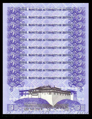 Lot 10 Pcs Banknotes,Bhutan 1 Ngultrum Paper Money,2013,P-27,UNC