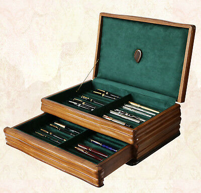 Fountain Pen Storage Display Chest, #661, Hand-Crafted, Walnut, 40 Pens, Usa