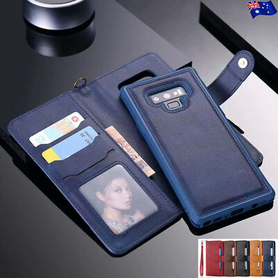 F Samsung Note 10+ 9 S10 5G S9 Plus Removable Magnetic Leather Wallet Case Cover