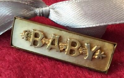Antique Art Deco mother of pearl Rolled Gold Baby bar brooch pin Keepsake