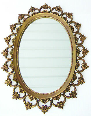 Syroco Large Vtg Gold Bronze Frame Mirror Wall Hanging Mid Century Oval 28 x 22