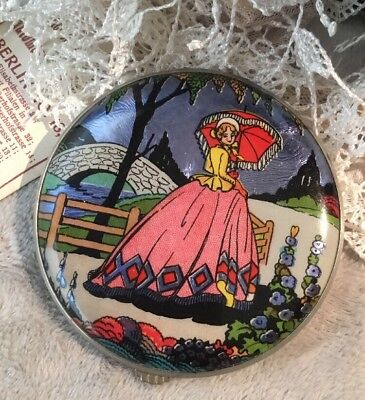 VINTAGE collectable GWENDA butterfly wing Foil Crinoline Lady POWDER COMPACT