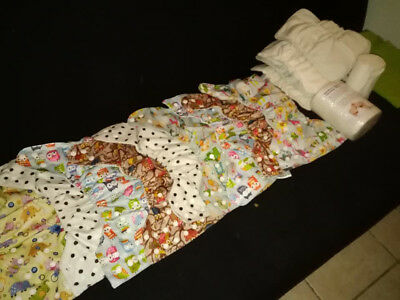 Lot couches lavables + inserts + Feuille Bambou. Beaucoup de neuf.