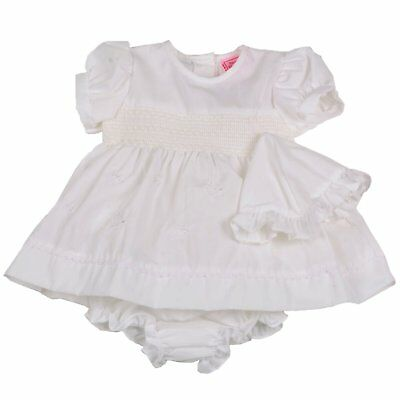 Baby/Reborn doll dress. Newborn, 0-3mth, 3-6mth White Smock (3 piece set