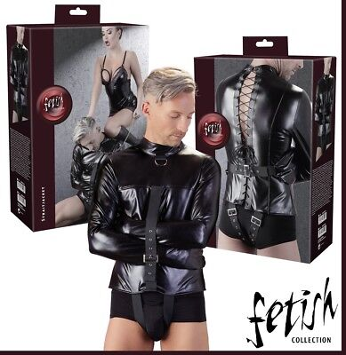 Sex Toys Camicia di forza regolabile in similpelle nera Straitjacket Fetish BDSM