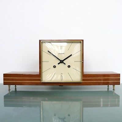 HERMLE Mantel Clock 1960s ICONIC! CUBISM Design HIGH GLOSS Vintage CHIME Germany