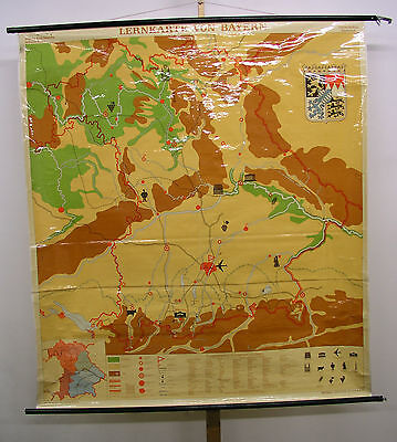 Schulwandkarte Map Bavaria Alps Franken Munich 64 3/16x71 5/16in 1963