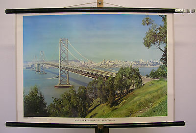 Pretty Wall Picture Oakland Bay Brücke San Francisco 29 1/2x20 1/2in Vintage Map