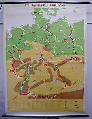 Schulwandkarte Wall Map W Germany GDR Federal Republic Lernkarte 53 7/8x73 5/8in