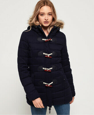 New Womens Superdry Tall Marl Toggle Puffle Jacket Eclipse Navy