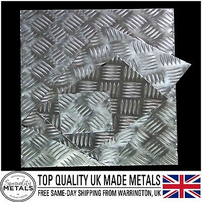 Aluminium Chequer 5 Bar Tread Plate 1mm, 2mm & 3mm Thickness Guillotine Cut