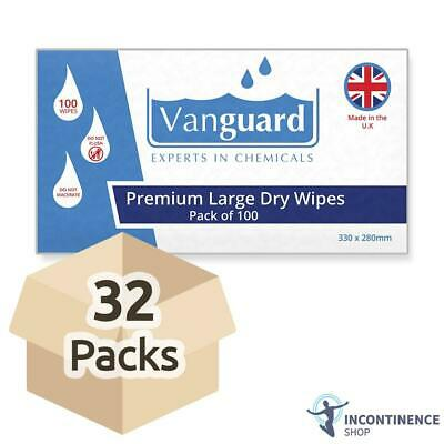 Vanguard Premium Large Dry Wipes - 330mm x 280mm - Case - 32 Packs of 100