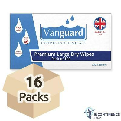 Vanguard Premium Large Dry Wipes - 33cm x 28cm - 16 Packs of 100