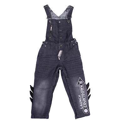 JOHN GALLIANO KIDS Denim Dungaree Size 9M Faded Crumpled PU Leather Details