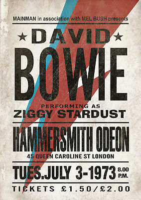Reproduction David Bowie Hammersmith Odeon Poster, Home Wall Art, A1 Size