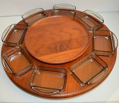 Digsmed/Holmegaard Two Tier Rotating Lazy Susan Serving Tray Denmark 60's MCM