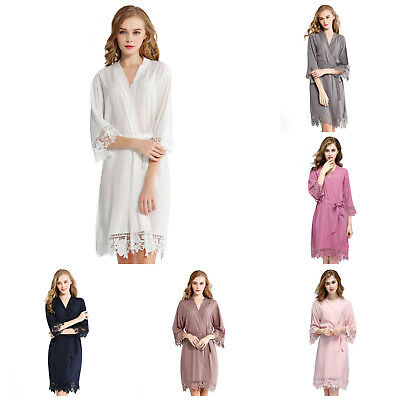 Ladies Rayon Cotton Wedding Bridal Party Robes Bride Bridesmaid Dressing Gown
