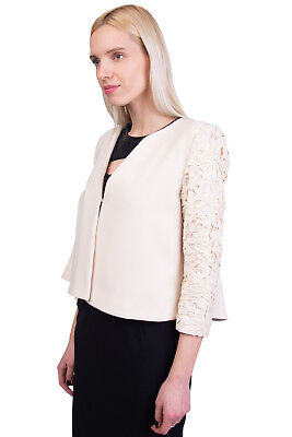 DARLING Blazer Jacket Size S Fully Lined Pleated Back Lace Trim Y-Neck RRP €186