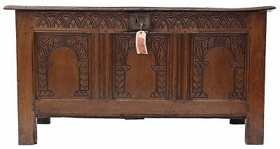 Antique Georgian 18th Century carved oak coffer or mule chest