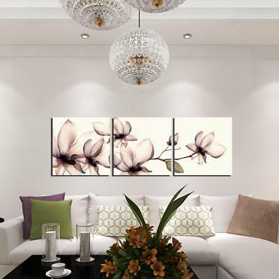 3pcs/set Canvas Oil Painting Magnolia Flower Printed Picture Wall Art Home Decor