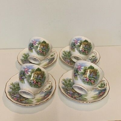 Royal Vale Bone China Set Of 4 Cups & Saucers