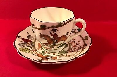 Crown Staffordshire HUNTING SCENE Scalloped Demitasse Cup & Saucer Set SCARCE