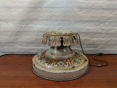 VINTAGE Decorative painted Metal Lamp Holder Pull Chain Ceiling light Fixture