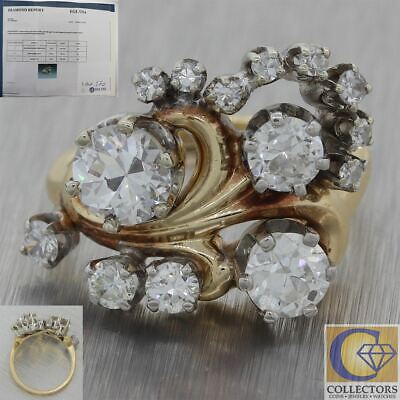1920 Antique Art Deco 14k Yellow Gold 1.97ct Diamond Cocktail Ring EGL M8 $10900