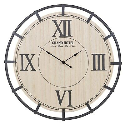 Wooden Wall Clock Metal Frame Roman Numerals Oversized Antique Vintage Rustic